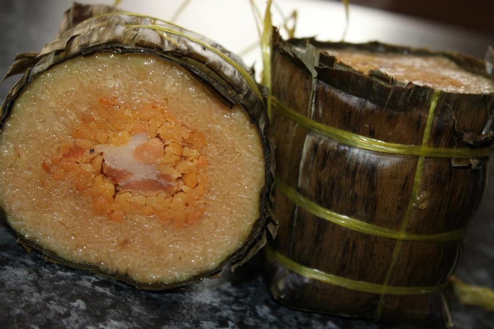 Bánh tét - Vietnamese New Year Cake (savoury but sometimes sweetened, made primarily from glutinous rice)